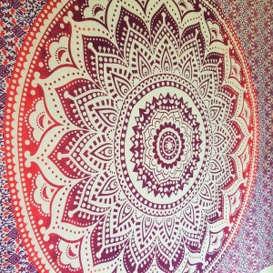 Purple / Pink White - Lotus flower- Mandala - 100% Cotton - Wall Hanging-Tapestry-Throw