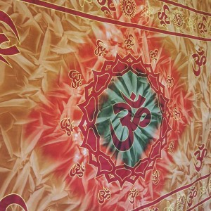 Brown  - Orange - Green - Tie dye - Om -  100% Cotton - Wall Hanging-Tapestry-Throw-Bed Sheet
