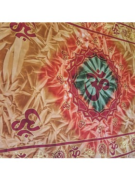 Brown - Orange - Green - Tie dye - Om - 100% Cotton - Indian - Wall Hanging-Tapestry-Throw-Bed Sheet-Fair Trade