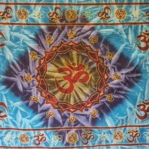 Blue -Turquoise - Green - Maroon - Tie dye - Om - 100 % Cotton -  Wall Hanging-Tapestry-Throw-Bed Sheet