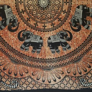 Elephant Mandala - Wall Hanging-Tapestry-Throw-Bed Sheet  - 100% Cotton