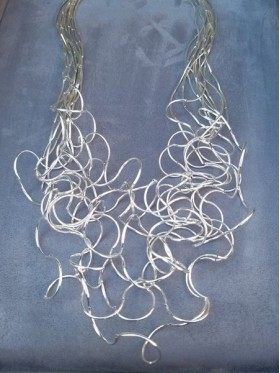 Wavy  Silver Wire Work Long Necklace