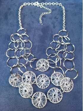 Cascading Silver Discs Necklace
