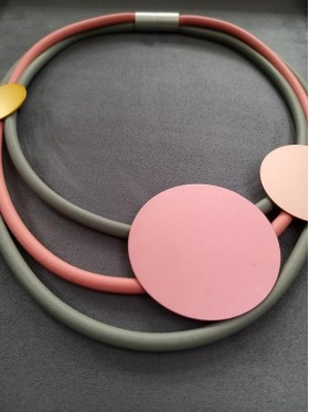 Pink Disc and Rubber Short Necklace