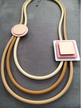 Squares and Circles Rubber Necklace