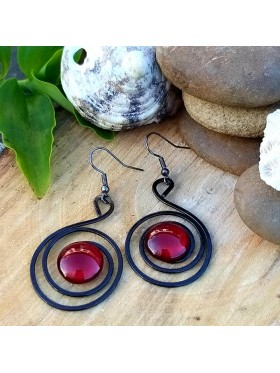 Circles BCN Earrings - Deep Red