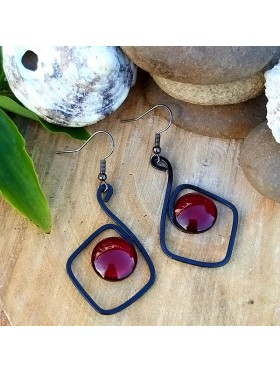 Diamond Shape BCN Earrings - Deep Red