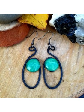 Oval Shape BCN Earrings - Aqua Green-Blue