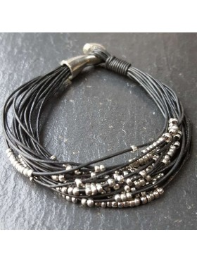 Black Silver Leather Bracelet