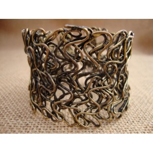 Flat Wire Cuff - Antique Gold