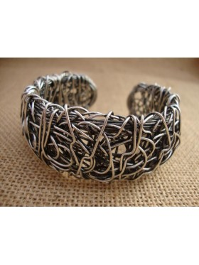 Wire Cuff - Antique Silver (Med)