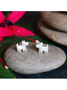 Dog Stud -  92.5 Sterling Silver Earrings