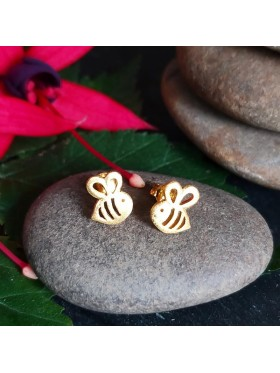 Bumble Bee Gold Plated Matt Stud-  92.5 Sterling Silver Earrings