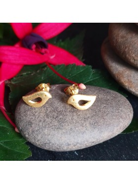 Bird Stud Matt Gold Plated -  92.5 Sterling Silver Earrings