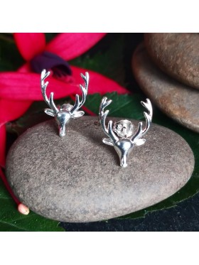 Antler Deer Stud -  92.5 Sterling Silver Earrings