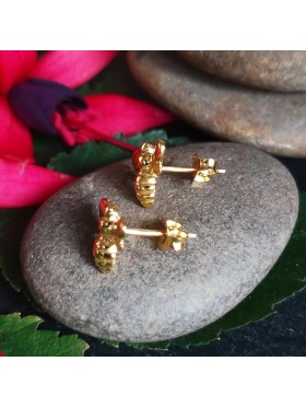Bee Gold Plated Stud -  92.5 Sterling Silver Earrings
