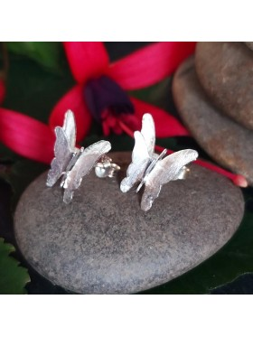 Butterfly Silver Matt  Stud-  92.5 Sterling Silver Earrings