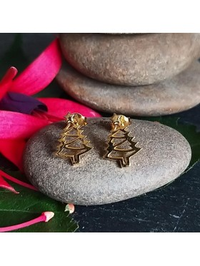 Christmas Tree Gold Plated Stud -  92.5 Sterling Silver Earrings