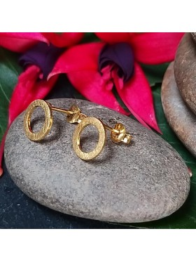 Open Gold Plated Circle Stud-  92.5 Sterling Silver Earrings