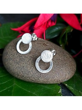 Double Circle Stud-  92.5 Sterling Silver Earrings
