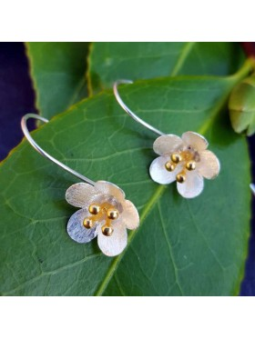 Spring Flower -  92.5 Sterling Silver and Gold Plated Earrings