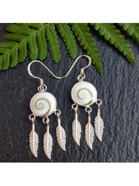 Shiva Eye Feathers -  92.5 Sterling Silver  Earrings
