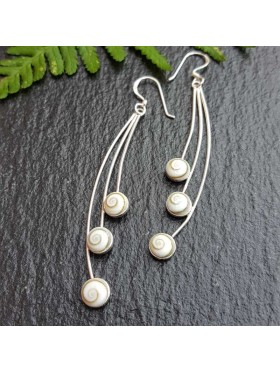 Three Shiva eyes Long Dangle -  92.5 Sterling Silver Earrings