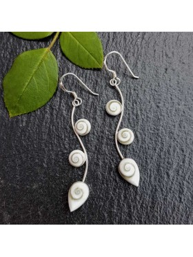 Shiva eye leaf Earrings -  92.5 Sterling Silver Earrings
