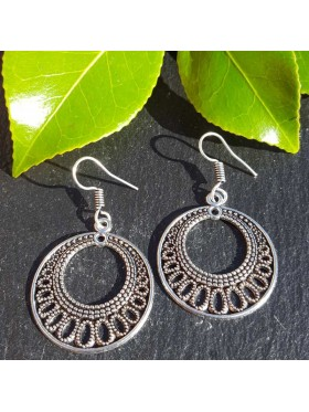 Aneesha Silver colour Earrings - Tribal design - Gypsy Ethnic style