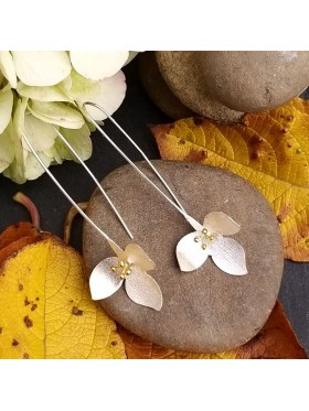 Daisy Flower Satin Finish -  92.5 Sterling Silver and 18k Gold Plated Earrings