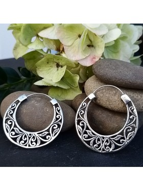 Big Tribal Floral Hoops -  92.5 Sterling Silver Earrings