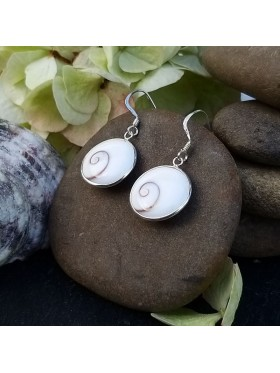 Shiva eye Circle shell drop Earrings -  92.5 Sterling Silver Earrings