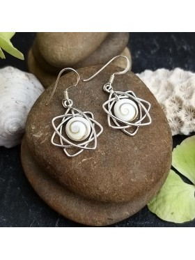 Star Shell - Shiva eye Dangle Earrings -  92.5 Sterling Silver Earrings