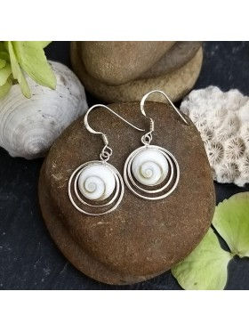 Shiva eye Delicate Hoop Dangle Earrings -  92.5 Sterling Silver Earrings