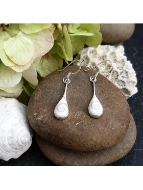 Tear Drop White Shell - Shiva's Eye Dangle Earrings -  92.5 Sterling Silver Earrings