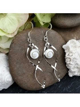 Twist White Shell Dangle Drop  - Shiva's Eye -  92.5 Sterling Silver Earrings