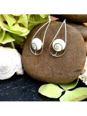 Long hook White Shell Drop  - Shiva's Eye -  92.5 Sterling Silver Earrings