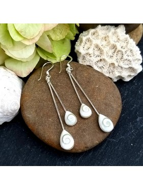Tear Double Drop White Shell - Shiva's Eye Dangle Earrings -  92.5 Sterling Silver Earrings