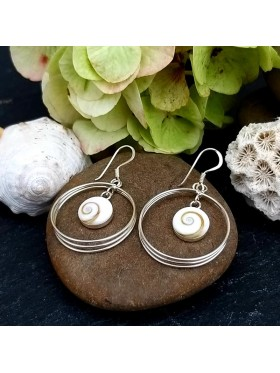 Shiva eye Delicate three Hoop Dangle Earrings -  92.5 Sterling Silver Earrings