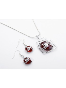 Red Sparkle Set - 92.5 sterling silver chain