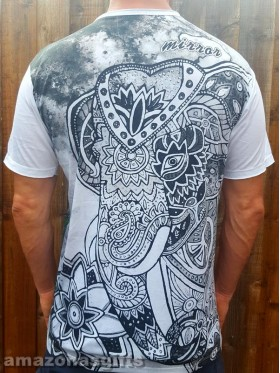 Elephant - Indian - Mirror - T-Shirt  - White -100% cotton-SALE