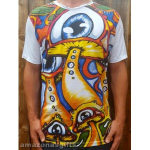 Mushroom Eye - Mirror - T-Shirt  - White