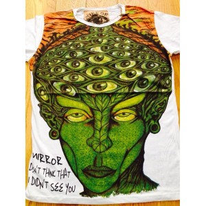 Alien Eyes - Mirror T Shirt  - Green