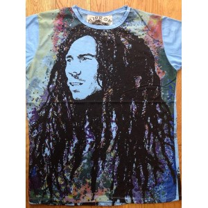 Bob Marley (Dreads) - Mirror T Shirt  - Blue