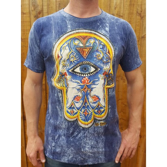 Hand of Fatima - Hamsa - No Time - 100% Premium cotton - T shirt  - Blue - (dark)