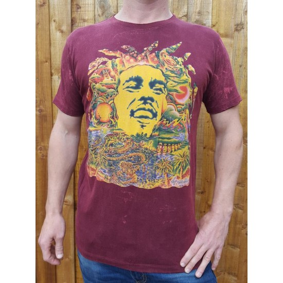 Bob Marley - No Time T shirt - Maroon