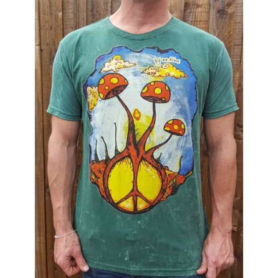 Peace - Mushroom - No Time - 100% Premium cotton - T shirt  - Green