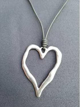 Heart Silver Pendant Leather Necklace