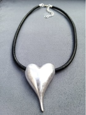 Full Heart Silver Pendant Leather Necklace