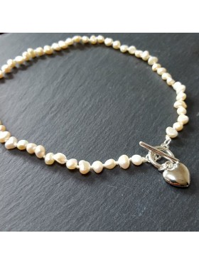Heart drop fresh water pearl Necklace